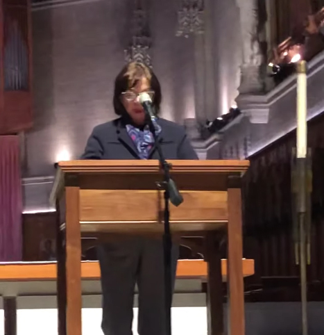 Stephanie Mann presenting at Grace Cathedral in San Francisco