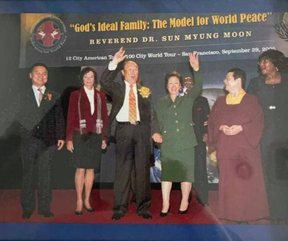 Stephanie, right next to Father, being honored on stage with True Parents 15 years ago
