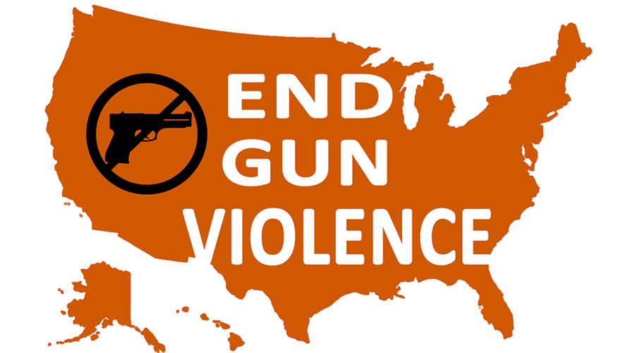 End gun violance background with United States map